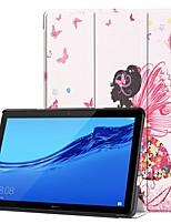 Недорогие -Кейс для Назначение Huawei Huawei Mediapad T5 10 / MediaPad T3 10(AGS-W09, AGS-L09, AGS-L03) со стендом / Флип / С узором Чехол Соблазнительная девушка Твердый Кожа PU для Huawei Mediapad T5 10