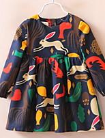 Недорогие -Дети (1-4 лет) Девочки Активный Повседневные Геометрический принт Длинный рукав До колена Полиэстер Платье Синий 100