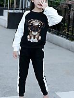 Недорогие -Дети Девочки Классический Повседневные / Спорт Собака Контрастных цветов Длинный рукав Обычный Обычная Хлопок / Искусственный шёлк Набор одежды Черный
