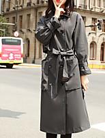 Недорогие -Жен. Офис Длинная Тренч, Однотонный Приподнятый круглый Длинный рукав Полиэстер Темно-серый M / L / XL