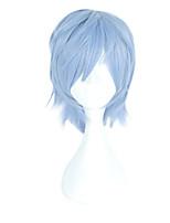 Недорогие -Парики из искусственных волос Муж. Прямой Зеленый Ассиметричная стрижка Искусственные волосы 4 дюймовый Косплей Зеленый Парик Короткие Без шапочки-основы Синий