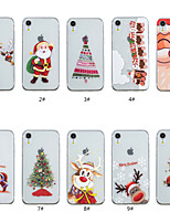 baratos -Capinha Para Apple iPhone XS / iPhone XS Max Transparente / Estampada Capa traseira Natal Macia TPU para iPhone XS / iPhone XR / iPhone XS Max