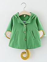 Недорогие -Дети (1-4 лет) Девочки Активный Однотонный Длинный рукав Обычная Хлопок Куртка / пальто Коричневый 100