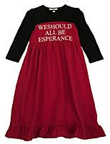 Недорогие -Дети Девочки Классический Однотонный Длинный рукав Платье Винный 150