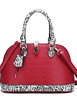 cheap -Women's Zipper PU Top Handle Bag Color Block Black / Red / Snakeskin