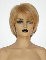 Недорогие -Человеческие волосы без парики Натуральные волосы Естественный прямой Стрижка под мальчика Модный дизайн / Новый дизайн / Удобный Блондинка Короткие Без шапочки-основы Парик Жен.