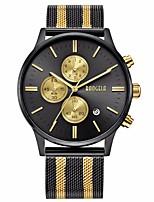 Недорогие -BAOGELA Муж. Спортивные часы Японский Японский кварц 30 m Защита от влаги Календарь Секундомер Нержавеющая сталь Группа Аналого-цифровые На каждый день Мода Золотистый / Розовое золото -