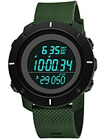 Недорогие -Муж. Спортивные часы Японский Цифровой 30 m Защита от влаги Календарь Хронометр силиконовый Группа Цифровой Мода Черный / Зеленый - Черный Зеленый / Фосфоресцирующий