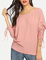 Недорогие -женская хлопчатобумажная футболка - сплошной цвет с плеч