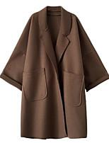 Недорогие -женский выход длинной куртки - сплошной цвет