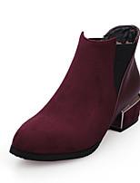 Недорогие -Жен. Полиуретан Наступила зима Минимализм Ботинки На толстом каблуке Круглый носок Ботинки Черный / Темно-серый / Винный