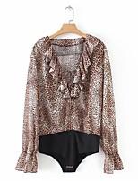 Недорогие -женская блузка - леопард / полька точка v шея
