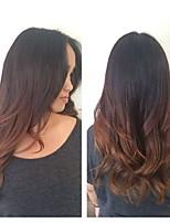 Недорогие -человеческие волосы Remy Полностью ленточные Лента спереди Парик Бразильские волосы Естественные кудри Естественные волны Темно-рыжий Парик Ассиметричная стрижка 130% 150% 180% Плотность волос