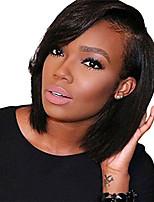Недорогие -Натуральные волосы Лента спереди Парик Бразильские волосы Прямой Черный Парик Стрижка боб Короткий Боб 130% Плотность волос с детскими волосами Природные волосы Для темнокожих женщин 100
