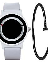 Недорогие -Муж. Спортивные часы Кварцевый Секундомер Творчество Новый дизайн Кожа Группа Аналоговый Мода минималист Черный / Белый - Белый Черный Один год Срок службы батареи