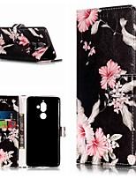 Недорогие -Кейс для Назначение Nokia Nokia 7 Plus / Nokia 6 2018 Кошелек / Бумажник для карт / со стендом Чехол Цветы Твердый Кожа PU для Nokia 7 Plus / Nokia 6 2018 / Nokia 1