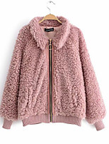 Недорогие -Жен. На выход Активный Обычная Пальто с мехом, Однотонный С отворотом Длинный рукав Полиэстер Розовый / Верблюжий S / M / L