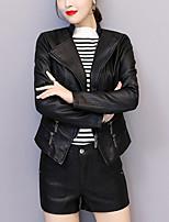 Недорогие -Жен. Повседневные Осень Обычная Кожаные куртки, Однотонный Приподнятый круглый Длинный рукав Полиуретановая Черный XL / XXL / XXXL / Тонкие