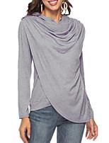 Недорогие -женская футболка - сплошной цвет с капюшоном