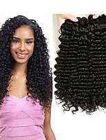Недорогие -3 Связки Бразильские волосы Монгольские волосы Крупные кудри 8A Натуральные волосы Необработанные натуральные волосы Подарки Косплей Костюмы Головные уборы 8-28 дюймовый Естественный цвет