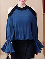 baratos -blusa de algodão feminina - bloco de cor em volta do pescoço