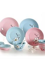 abordables -40 pièces 16 pièces Assiettes Services de Vaisselle Plats de Service Vaisselle Porcelaine Céramique Créatif Adorable