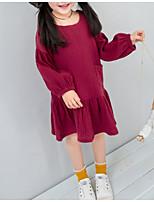Недорогие -Дети Девочки Милая Повседневные Однотонный Длинный рукав До колена Полиэстер Платье Синий 100