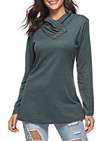 Недорогие -женская хлопчатобумажная футболка - сплошной цвет с капюшоном