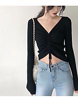 baratos -t-shirt slim feminina - sólido colorido v profundo
