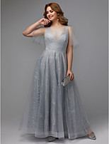 billiga -A-linje Illusion Halsband Golvlång Spets Glitter och glans Formell kväll Klänning med Paljett av TS Couture® / Bal