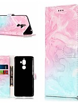 Недорогие -Кейс для Назначение Nokia Nokia 7 Plus / Nokia 6 2018 Кошелек / Бумажник для карт / со стендом Чехол Мрамор Твердый Кожа PU для Nokia 7 Plus / Nokia 6 2018 / Nokia 1