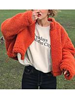 Недорогие -Жен. На выход Короткая Куртка, Однотонный Круглый вырез Длинный рукав Полиэстер Оранжевый Один размер