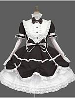 baratos -Doce Casual Lolita Dress Doce Elegante Renda Feminino Vestidos Cosplay Preto / Azul / Rosa claro Manga Princesa Manga Longa Até os Joelhos Fantasias