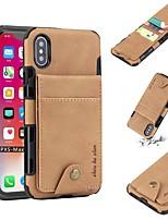 baratos -Capinha Para Apple iPhone X / iPhone XS Max Porta-Cartão / Antichoque Capa traseira Sólido Macia PU Leather para iPhone XS / iPhone XR / iPhone XS Max