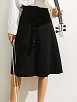 Недорогие -женский колено длиной юбки - сплошной цвет