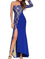 abordables -Femme Soirée Elégant Maxi Mince Gaine Robe Géométrique / Bloc de Couleur Taille haute Sans Bretelles Bleu Noir Rouge L XL XXL Manches 3/4 / Sexy