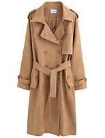 Недорогие -женский праздник / выход длинный рыхлый пальто - сплошной цвет