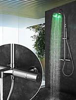 Недорогие -Смеситель для душа / Ванная раковина кран - Современный Хром На стену Керамический клапан Bath Shower Mixer Taps / Латунь / Две ручки двумя отверстиями