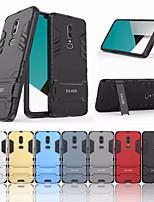 Недорогие -Кейс для Назначение OnePlus OnePlus 6 Защита от удара / со стендом Кейс на заднюю панель Однотонный Твердый ПК для OnePlus 6