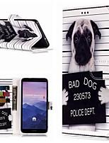 Недорогие -Кейс для Назначение Huawei Mate 10 lite / Mate 9 Pro Кошелек / Бумажник для карт / со стендом Чехол С собакой Твердый Кожа PU для Mate 10 / Mate 10 pro / Mate 10 lite