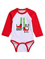 Недорогие -малыш Девочки Классический Контрастных цветов Длинный рукав Полиэстер Bodysuit Красный 100 / Дети (1-4 лет)