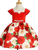 Недорогие -Дети Девочки Классический Цветочный принт С короткими рукавами Платье Синий 110