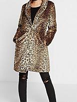 Недорогие -Жен. Пальто с мехом Уличный стиль - Леопард