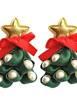 Недорогие -1 пара Жен. 3D Серьги-гвоздики - Искусственный жемчуг Кожа Новогодняя ёлка Дамы Стиль Художественный Бижутерия Зеленый Назначение Рождество