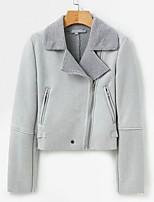 Недорогие -Жен. Куртка Классический - Однотонный Плиссировка