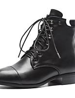 Недорогие -Жен. Наппа Leather Осень Ботинки На низком каблуке Закрытый мыс Ботинки Черный