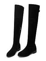 Недорогие -Жен. Замша / Кожа Осень Ботинки Блочная пятка Закрытый мыс Сапоги выше колена Черный / Верблюжий