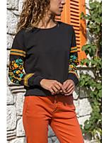 abordables -Tee-shirt Femme, Couleur Pleine / Fleur Mosaïque Basique / Chic de Rue
