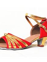 Недорогие -Жен. Обувь для латины Сатин На каблуках Планка Толстая каблук Персонализируемая Танцевальная обувь Красный