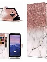 Недорогие -Кейс для Назначение Huawei Mate 10 lite / Mate 9 Pro Кошелек / Бумажник для карт / со стендом Чехол Мрамор Твердый Кожа PU для Mate 10 / Mate 10 pro / Mate 10 lite